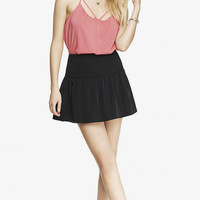 BLACK SMOCKED WAIST MINI SKIRT from EXPRESS