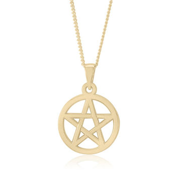 10k Yellow Gold Pentacle Pendant – Pentagram – Pagan – Wicca – Celtic - Traditional