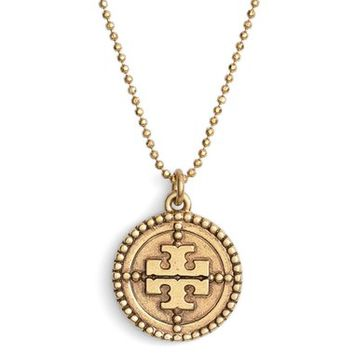 Tory Burch 'Coin Logo' Pendant Necklace | Nordstrom
