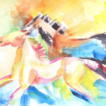 Original Watercolor Horses, Colorful Running Galloping Horses, 9x12, Equestrian art, childrens room, Horse theme, abstract