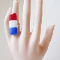 Patriotic Fused Glass Adjustable Ring for 4th of July, Red White and Blue Statment Ring, American Pride Ring, American Flag Ring