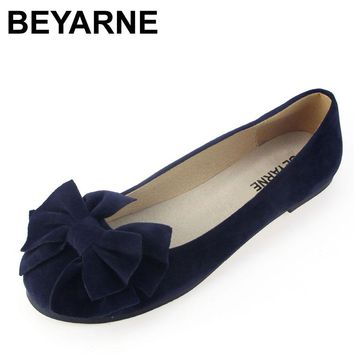 BEYARNE spring summer bow women single shoes flat heel soft bottom ballet work flats shoes woman moccasins size 35-43 free ship