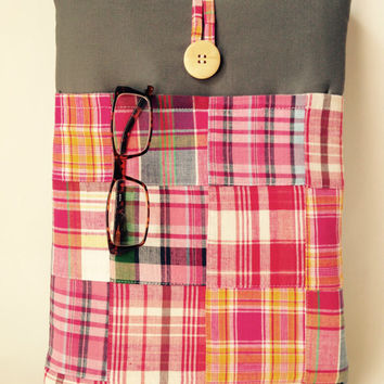 Pink Macbook Air 11 inch Case Cord Pocket, Mac book Air Cover, Laptop Padded Sleeve, Patchwork Fabric Tablet Bag Sac Plaid Grey Madras Gray