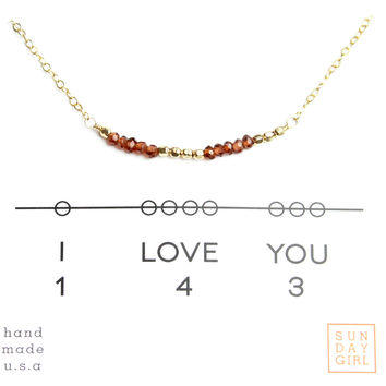 """I Love You"" Gemstone Secret Code Necklace - Garnet"