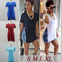 Hot Women Shirt Dress Sexy Club Side Split Slit Casual  Summer T-Shirt Dresses Outfit Vestidos Plus Size 5 Colors