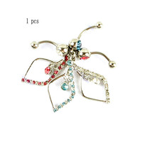 New Charming Dangle Crystal Navel Belly Ring Bling Barbell Button Ring Piercing Body Jewelry = 4804914244