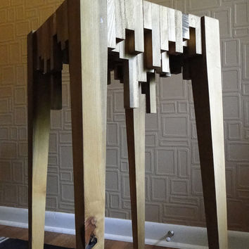 Recycled Wood Accent Table by duncndonut on Etsy