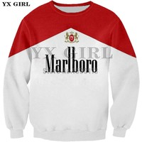 New arrive popular red smoking cigarettes sweatshirt men women 3D printing novelty harajuku style long sleeve streetwear hoodies