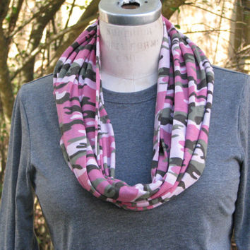 Monogrammed Pink Camo Infinity Scarf