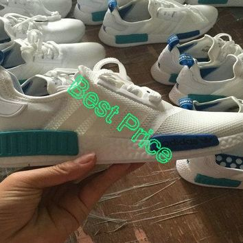 Shop Unisex Adidas Originals NMD Runner Mesh White Blue Turquoise shoe