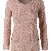 LE3NO Womens Cable Knit Long Sleeve Round Neck Pullover Sweater
