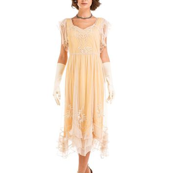 Nataya AL-284 Olivia 1920s Flapper Style Party Dress in Lemon