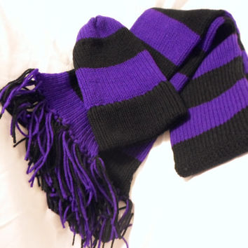 Hand knitted purple and black striped Scarf and Hat Set