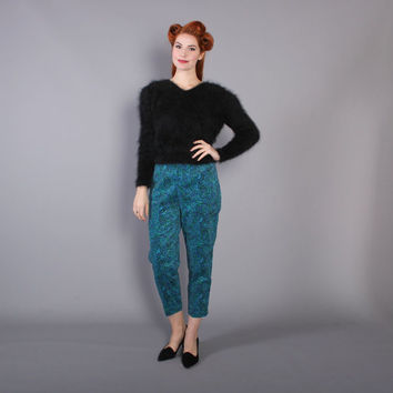 50s Deadstock Paisley Print Velvet Pin Up PANTS / NOS with Tags 1950s Pedal Pushers, s
