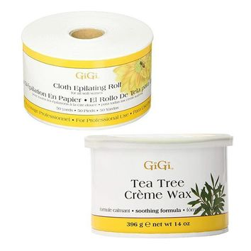 GiGi Cloth Epilating Roll 50 yards + Tea Tree Creme Wax 14 oz