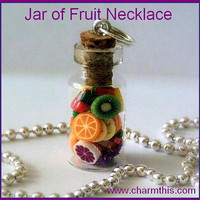 Jar of Fruit   Bottle Necklace by CharmthisClayCharms on Etsy
