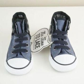Converse Chuck Taylor All Star Easy Slip Infants Blue High Tops Velcro size 4