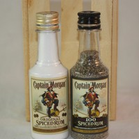 Salt & Pepper Shaker from Upcycled Captain Morgan Spiced Rum Mini Liquor Bottles
