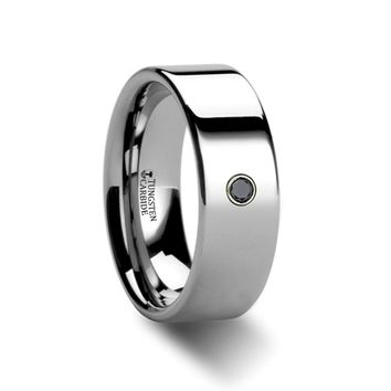 Black Diamond Tungsten Carbide Wedding Band, Pipe Cut