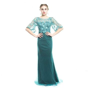 Elegant Green Lace Prom Dress Mother of the Bride Dress Half Sleeve Mermaid Mothers Evening Dress