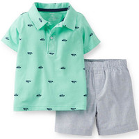 BOY'S BOAT PRINT POLO & SHORTS