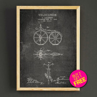 Vintage Bicycle Patent Print 1866 Bike Blueprint Poster House Wear Wall Art Decor Gift Linen Print - Buy 2 Get FREE - 290s2g