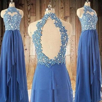 Elegant Blue Lace Prom Dresses with Beadings