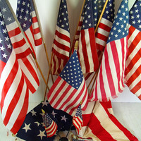 Vintage American Flags on Wooden Poles Collection of 12 Well Used Displayed Naturally Aged Fabric USA Flags Variety of Condition & Sizes