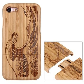 Natural Real For Apple iPhone 7 Case Wood Bamboo Hard Back Case Handmade Carving Cover Phone Protective Shell Skin Coque