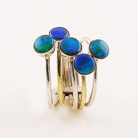 Australian Fire Opal Sterling Silver Two Tone Stack Ring