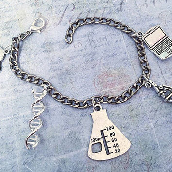 I Love Science Charm Bracelet, Science Jewelry, Chemistry Jewelry, Biology Jewelry, Physics Jewelry, DNA, Beaker, Microscope, Planet, Laptop