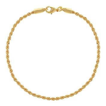 """18k Gold Plated Thin Cord Braided Rope Chain Womens Bracelet 7.5"""""""