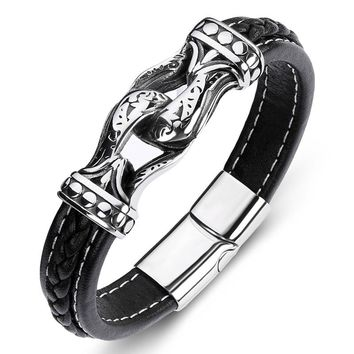 Men Leather Bracelet Antique Cowhide Bracelets Stainless Steel Handcuffs Charm Bangle European And American Hot Sale 19/21/23cm