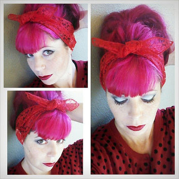 Red Lace WIDE Headwrap Bandana Hair Bow Tie 1950s Vintage Style - Rockabilly - Pin Up - For Women, Teens