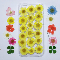 iPhone 5 Case, iPhone 5s Case Clear, Pressed Flower iPhone 5 Case, Clear iPhone 5c Case, iPhone 5s Case, iphone 5c, yellow daisy iphone case