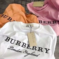 BURBERRY New Fashion Women Embroidery Logo Short sleeve T-shirt Three Color