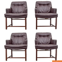 Edward Wormley Leather Armchairs, Set of Four - Objects20c