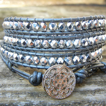 Beaded Leather Wrap Bracelet 4 or 5 Wrap with Silver Czech Glass Beads on Hematite Gray Silver Leather Winter Holiday