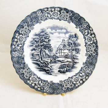 Vintage British Anchor Ironstone 'Memory Lane' pattern plate. Made in England