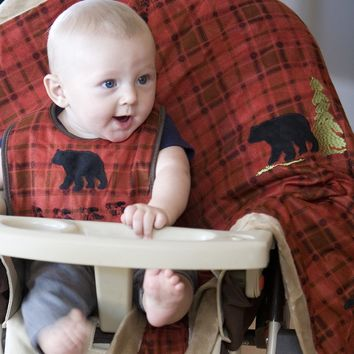 Red Plaid Bear Bib