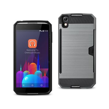 New Alcatel One Touch Idol 4 Slim Armor Hybrid Case With Card Holder In Gray