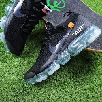 Tagre™ ONETOW Best Online Sale OFF WHITE x Nike Custom Air VaporMax 2.0 OW Sport Running Shoes Black Ice Blue Sneaker