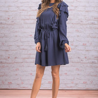 Ruffle Ready Dress, Navy