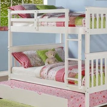 Sarah Full White Bunk Bed with Trundle
