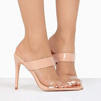 Sexy Transparent Straps Open Back  High Heels Pointed Toe Sandals