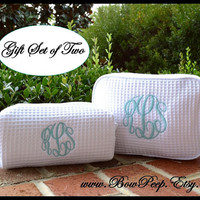 Personalized Cosmetic Bag Gift Set of 2 Large and Small Size Bags -  Two Monogrammed makeup bags, bridesmaids cosmetic, monogram toiletries