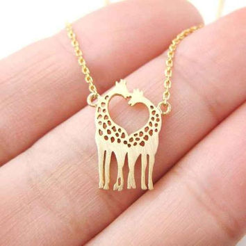 Giraffe Necklace, Gold Giraffe Necklace, Loving Giraffe Necklace, Statement Necklace , Boho Necklace, Boho Jewelry