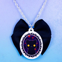 Kawaii Goth Acrylic Halloween Cameo Kitty Cat Necklace Brooch Earrings or Ring with Black Bow