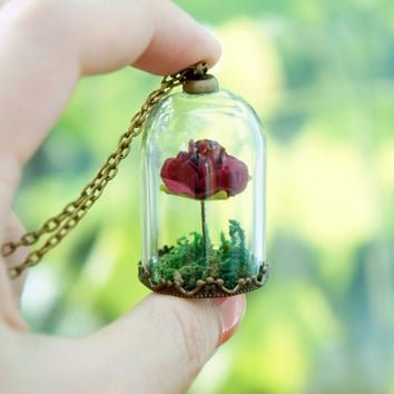 Beauty and the Beast Inspired - Enchanted Rose Jar Neckalce - Miniature Glass Dome Pendant - Fairy Tale Necklace- Belle Enchanted Rose