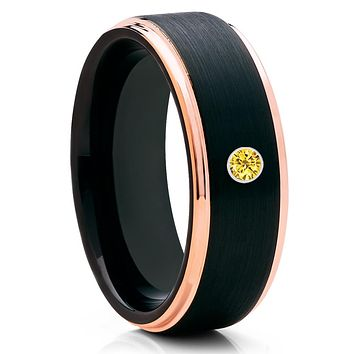 Men's Tungsten Wedding Band - Rose Gold Tungsten - Yellow Sapphire